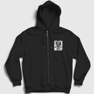 Gameboy Skull Fermuarlı Kapşonlu Sweatshirt siyah