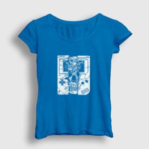 Gameboy Skull Kadın Tişört açık mavi