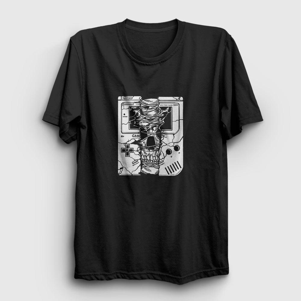 gameboy skull tişört siyah