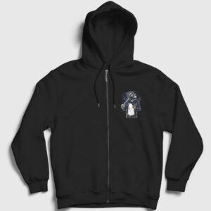 Gasmask Bastard Fermuarlı Kapşonlu Sweatshirt siyah