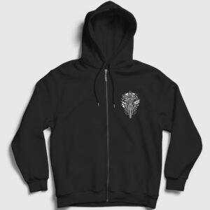 Gaz Maskeli Motorcu Fermuarlı Kapşonlu Sweatshirt siyah