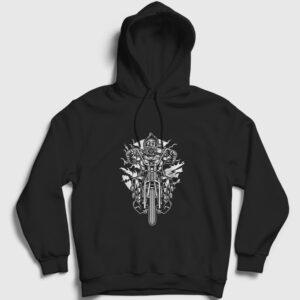 Gaz Maskeli Motorcu Kapşonlu Sweatshirt siyah