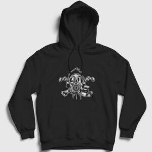 Gaz Maskesi Çapraz Kemik Kapşonlu Sweatshirt siyah