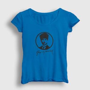 Gazi Mustafa Kemal Kadın Tişört açık mavi