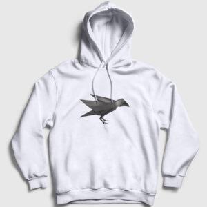 Geometrik Karga Kapşonlu Sweatshirt beyaz
