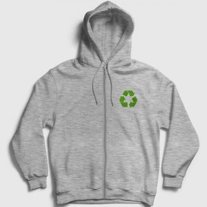 Geri Dönüşüm Logosu Fermuarlı Kapşonlu Sweatshirt gri kırçıllı