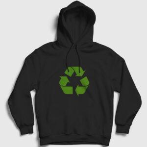 Geri Dönüşüm Logosu Kapşonlu Sweatshirt siyah