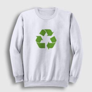 Geri Dönüşüm Logosu Sweatshirt beyaz