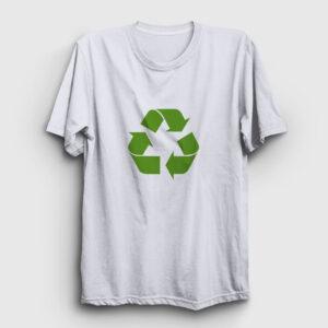 Geri Dönüşüm Logosu Tişört beyaz