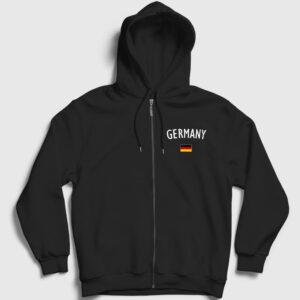 Germany Fermuarlı Kapşonlu Sweatshirt siyah