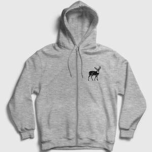 Geyik Fermuarlı Kapşonlu Sweatshirt gri kırçıllı