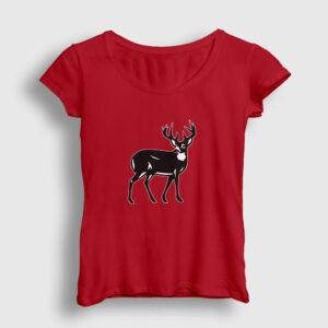 Geyik Kadın Tişört kırmızı