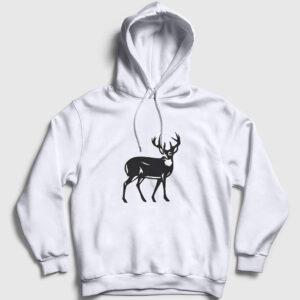 Geyik Kapşonlu Sweatshirt beyaz