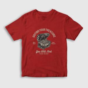 Go Find Your Treasure Hazine Sandığı Çocuk Tişört kırmızı