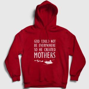God Created Mothers Kapşonlu Sweatshirt kırmızı
