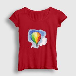 Gökkuşağı Balon Kadın Tişört kırmızı