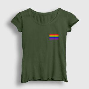 Gökkuşağı Logo Kadın Tişört haki