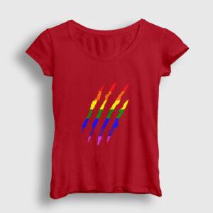 Gökkuşağı Pençe İzi Kadın Tişört kırmızı