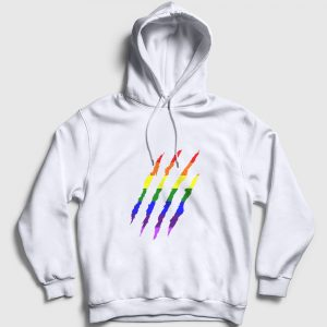 Gökkuşağı Pençe İzi Kapşonlu Sweatshirt beyaz