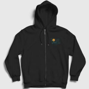 Gökyüzü Fermuarlı Kapşonlu Sweatshirt siyah