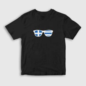 Gözlük Yunanistan Çocuk Tişört siyah