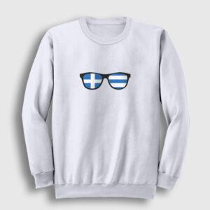 Gözlük Yunanistan Sweatshirt beyaz
