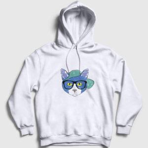 Gözlüklü Kedi Kapşonlu Sweatshirt beyaz