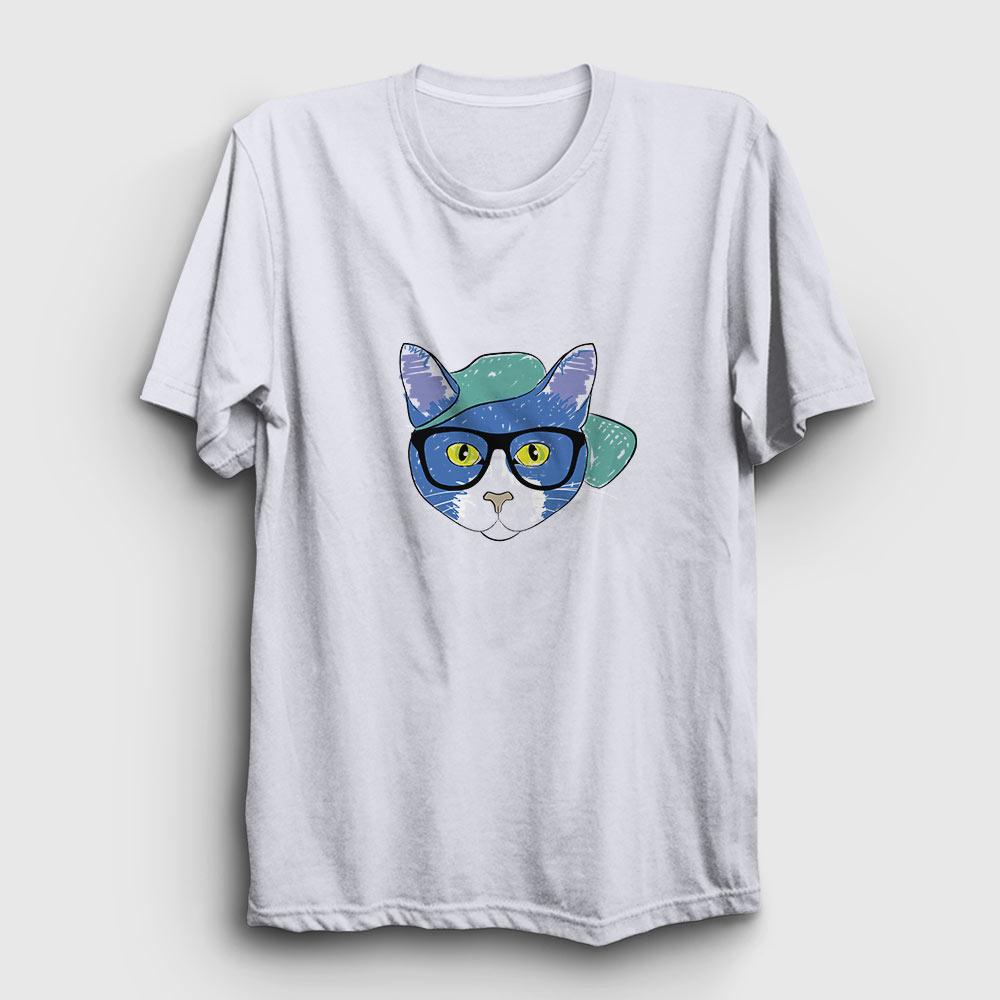 gözlüklü kedi tişört beyaz