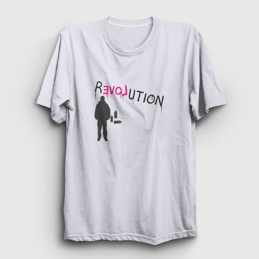 grafiti tişört revolution beyaz