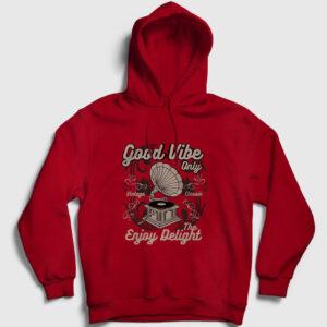 Gramofon Kapşonlu Sweatshirt kırmızı