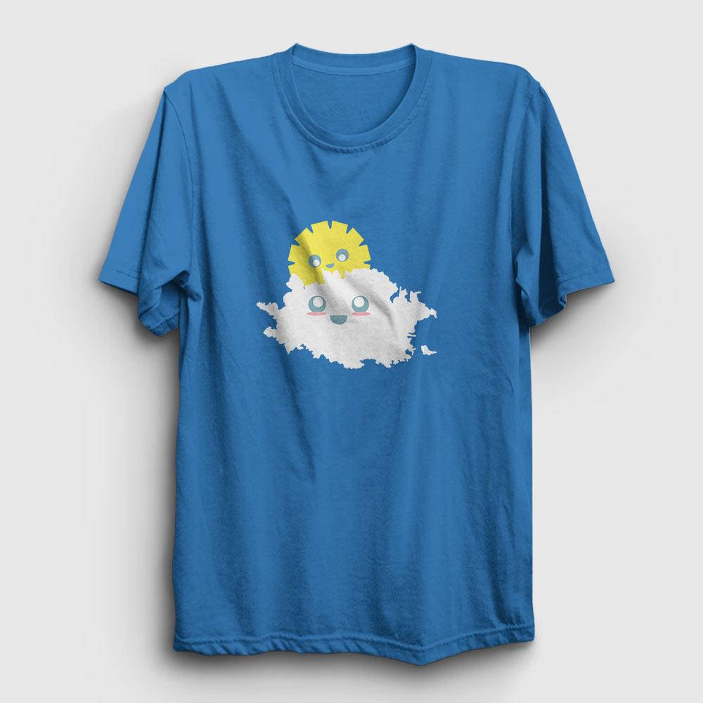 güneş ve bulut tişört açık mavi