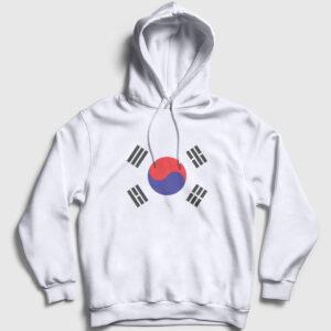 Güney Kore Kapşonlu Sweatshirt beyaz