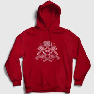 Guns and Roses Kapşonlu Sweatshirt kırmızı