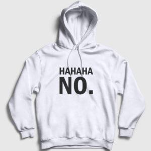 Hahaha No Kapşonlu Sweatshirt beyaz