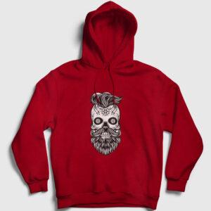 Handsome Skull Kapşonlu Sweatshirt kırmızı