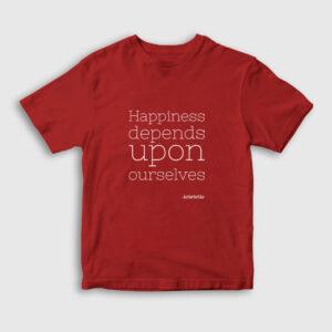 Happiness Aristotales Çocuk Tişört kırmızı