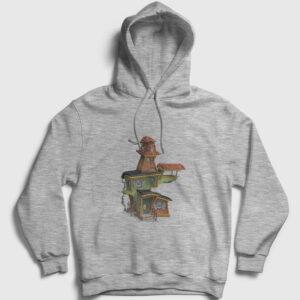 Hayaletli Ev Kapşonlu Sweatshirt gri kırçıllı