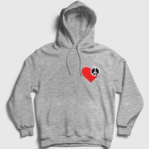 Heart and Peace Kapşonlu Sweatshirt gri kırçıllı