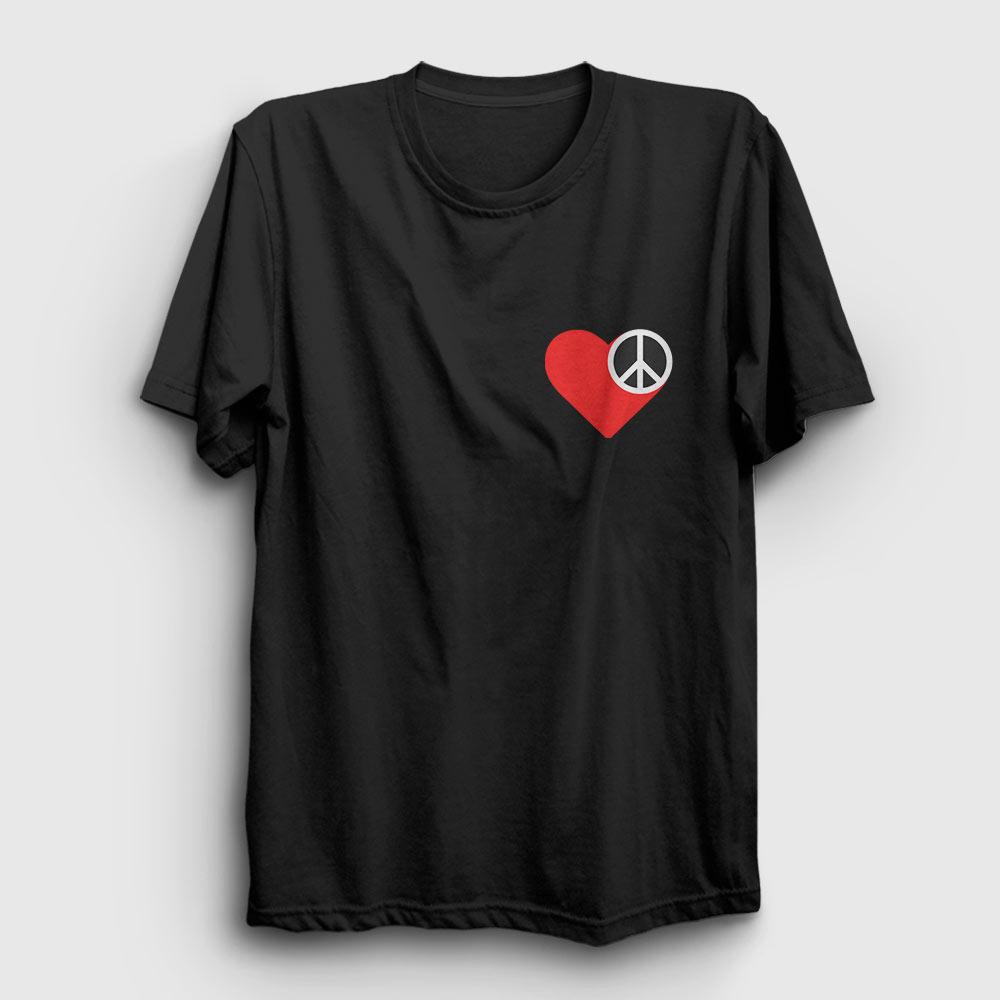 heart and peace tişört siyah