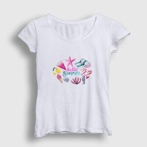 Hello Summer Kadın Tişört beyaz