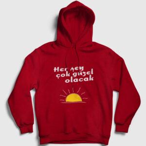 Her Şey Çok Güzel Olacak Güneş Kapşonlu Sweatshirt kırmızı