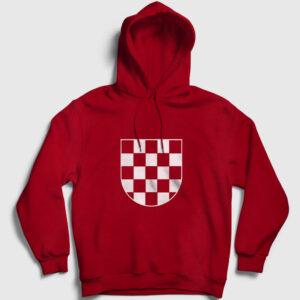 Hırvatistan Kapşonlu Sweatshirt kırmızı