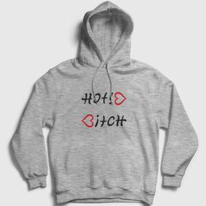 Hot Bitch Kapşonlu Sweatshirt gri kırçıllı