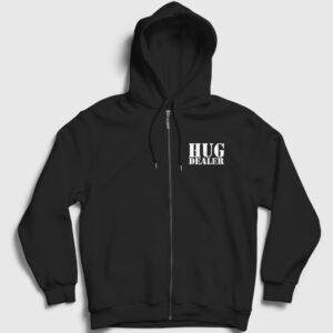 Hug Dealer Fermuarlı Kapşonlu Sweatshirt siyah