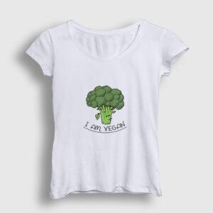 I Am Vegan Kadın Tişört beyaz