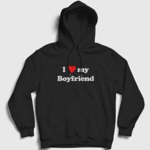 I Love My Boyfriend Kapşonlu Sweatshirt siyah