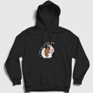 I Love My Guinea Pig Kapşonlu Sweatshirt siyah