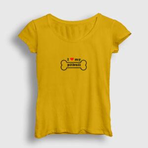 I Love My Pitbull Kadın Tişört sarı
