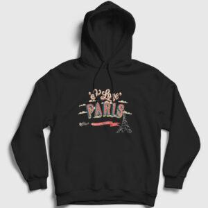 I Love Paris Kapşonlu Sweatshirt siyah