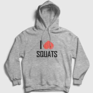 I Love Squats Kapşonlu Sweatshirt gri kırçıllı